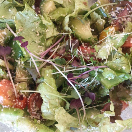 Ant salotų viršaus - sėjamoji pipirnė ir lapiniai ridikai