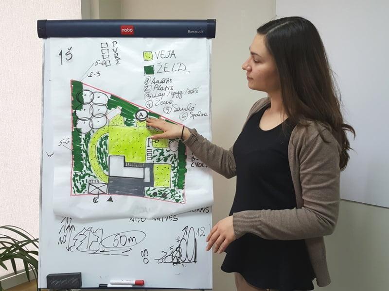 Kraštovaizdžioarchitektė Lina Puodžiūtė pasakoja, kaip namo aplinka gali būti keičiama. Nuotr. L.Liubertaitė