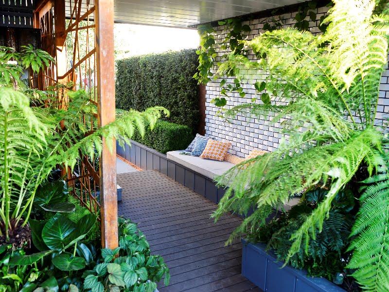 """Dizainerės Kate Gould sodas """"City Living"""". (paroda """"Chelsea Flower Show"""" 2017)"""