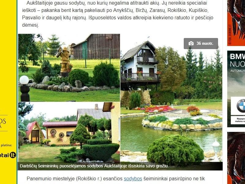 """Nuotraukų koliažas iš straipsnio """"Lietuviai savo sodybas pavertė išskirtinėmis: vaizdai – lyg iš atvirukų"""", nuotra. ir straipsnio autorė M.Trainienė."""