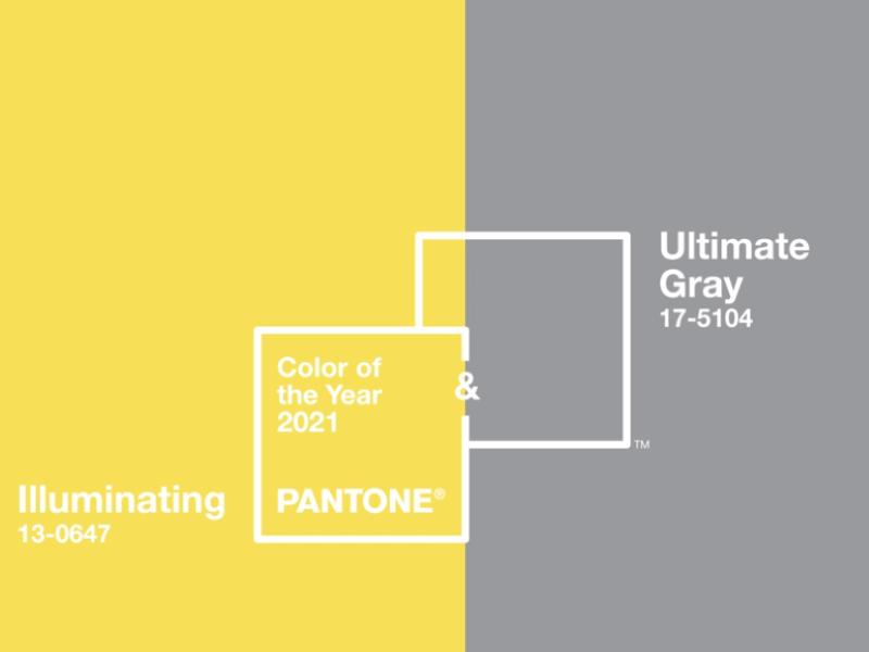 PANTONE 2021 metų spalvos: gyvybe žaižaruojanti geltona ir pastovumą bei tvirtybę reiškianti pilka.