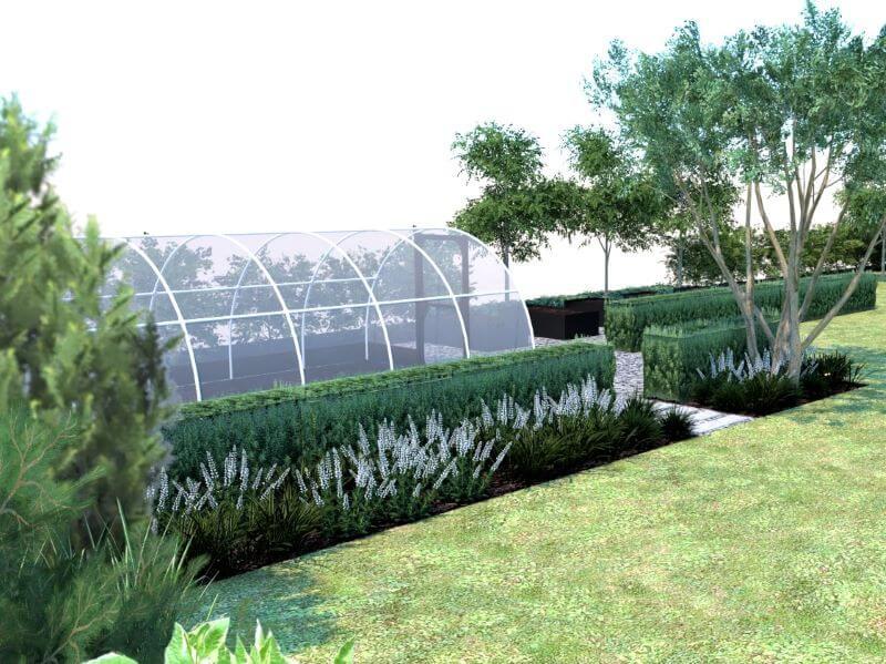 Daržo zona nuo poilsio zonos estetiškai atskirta gyvatvorėmis ir dekoratyviniais augalais. Aut. M. Sliesoraitytė